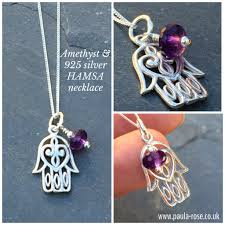 sterling silver hamsa hand of fatima amethyst gemstone necklace protection happiness good luck health good fortune reiki infused