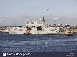 hms ocean returns to her home port of devonport in plymouth devon uk
