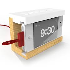Distil Union's Snooze - The minimal wooden iPhone 4 alarm dock with big  rubber snooze bar