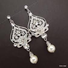 pearl and rhinestone chandelier earrings bridal ivory or white with earringspearl earringsivory pearlstatement 800x799px