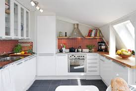 Cool Small Kitchen Lovely Small Kitchen Design With White Apron Feat Red Mosaic Tile