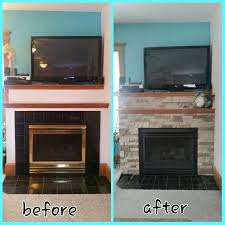 before after airstone fireplace and flat black high heat spray paint over outdated brass