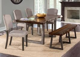 hilale emerson 6 piece rectangle dining set with one bench and four chairs gray