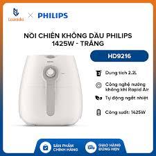 Nồi chiên không dầu philips hd9216 1425w (trắng) - hàng phân phối chính  hãng - công nghệ nướng