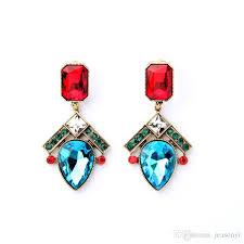 2018 2016 sapphire teardrop chandelier earrings rubine rectangle earring pave emerald rhinestone charms for lady from jeasonyi 2 82 dhgate com