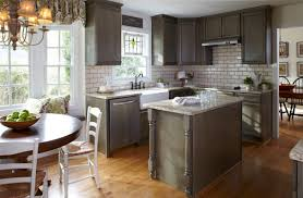 White Subway Tile Grey Grout Small Kitchen Island Painted Cabinets Low  Windows Small Kitchen Cabinet Layout