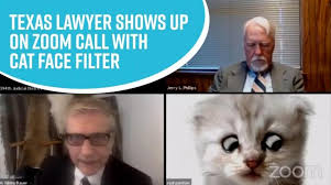 A texas lawyer was turned into a cattorney by a pesky zoom filter during a virtual court hearing i'm here live. 3g0uit4oxt3t2m