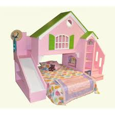 dollhouse loft bunk bed plans with stair and slide made of wood in pink finished as bunk bed steps casa kids