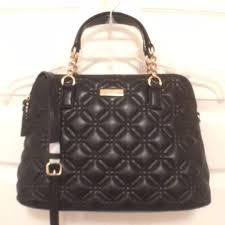 Kate Spade Black Gold Leather New Quilted Astor Court Small ... & Kate Spade Handbag Purse Cross Body Shoulder Quilted Satchel in Black Gold.  12345678 Adamdwight.com