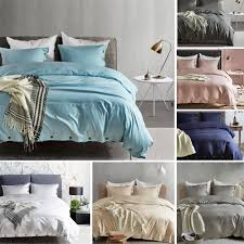 details about new soft bedding sets solid duvet quilt cover pillowcase twin queen king us size