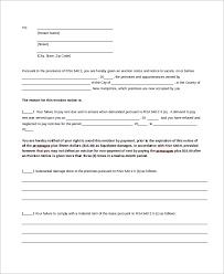 30 day eviction notice forms sample of 30 day eviction notice 7 examples in word pdf