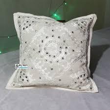 Small Picture Shop White Decorative Mirror work Indian Cushion Cover Ethni