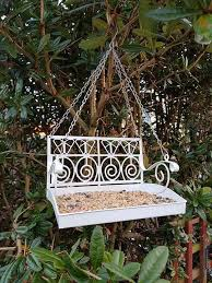 deluxe white garden swing seat hanging bird feeder bird table feeding station 1 of 6free