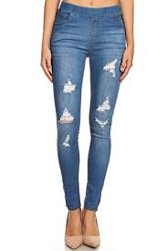 Jvini Womens Pull On Ripped Destroyed Stretch Skinny Denim Jeggings 1x Large Blue 55