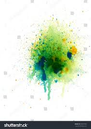 Abstract Watercolor Palette Blue Yellow Green Stock Vector