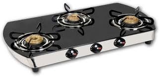 glass top lpg stove 03 burner oval