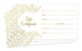 Blank Gift Certificates For Business 25 Gold Foil Gift Certificate