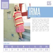 Lularoe Irma Shirt Sizing Chart Spring 2018 Irma Sizing