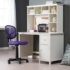 White Student Desk For Small Spaces With Storage And Purple Roller Chair