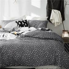 twin queen king size 100 cotton star print grey bedding set for kids boys girls cute bed set duvet cover bedsheet linen set duvet covers red and white