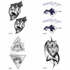 маленький Snowberg поддельные татуировки черный волк мужчины руки