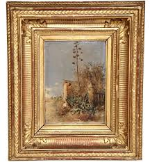 19th century italian oil on board painting in gilt frame signed l franco
