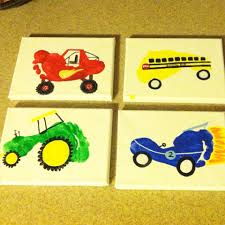 Monster Truck School Bus Tractor And Race Car Footprint Art For