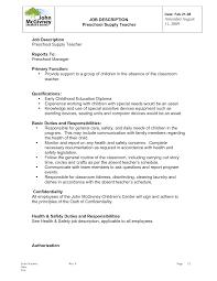 Description Of Teacher Resume Kindergarten Job Description