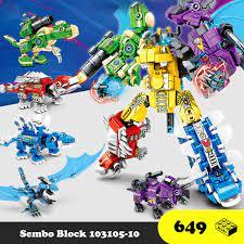 Đồ chơi lắp ráp Robot khủng long 6 trong 1 - Robot Transformer Sembo Block  103105 - Đồ chơi Lego 649 mảnh ghép