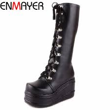 <b>ENMAYER</b> ShoesNew <b>Motorcycle Boots</b> Gothic Punk Shoes ...