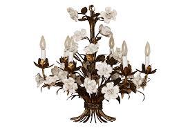 vintage french gilt and porcelain chandelier