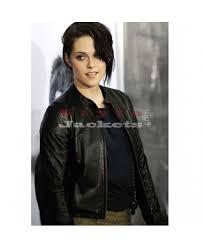 kristen stewart celebrity style slim fit black leather jacket