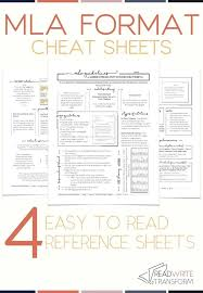 Mla Guidelines 2020 Updated 2019 Mla 8 Format Cheat Sheet Middle School