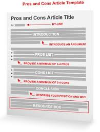 Pros And Cons Topics Of Argumentative Essays The Pros And Cons Article Template Marketing Pinterest Article
