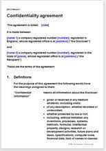 Standard Nda Agreement Template Confidentiality Agreement Download A Template For The Ie