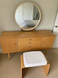 retro stunning dressing table schreiber light blong round mirror vintage
