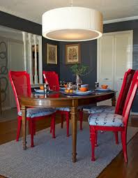 Red Dining Room Chairs Grey Carpet And White Drum Pendant Lamps For Small Dining Room