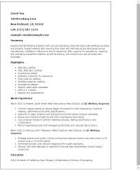 Qc Welding Inspector Resume Template Best Design Tips