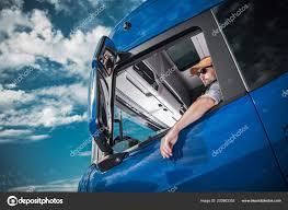 Heavy Load Cargo Delivery Caucasian Truck Driver Semi Tractor Cabin