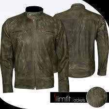 distressed wax men s biker vintage cafe racer jacket 169 0
