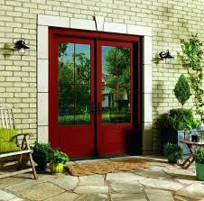 Red Entry Door French Doors Exterior Fiberglass Dark Sliding Patio