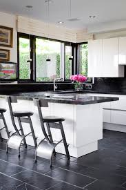 Kitchen Floor Tiles Modern contemporary kitchen with checked black