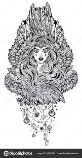 De Magische Vrouw Engel Met Vleugels En Lange Haren Stockvector
