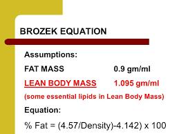 brozek equation fat 4 57 density 4 142 x 100 assumptions