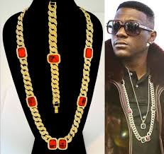 mens hip hop rappers miami iced out cuban link chain red ruby necklace bracelet