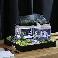 office fish tank. Acrylic Mini Micro Landscape Aquarium Office Desk Small Personal Ecology Multifunctional Living Room Creative USB Fish Tank