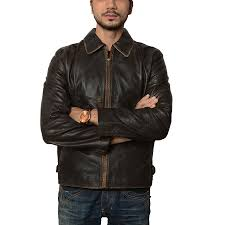 mens flight distressed vintage brown leather jacket
