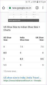 Shoes Size Chart India