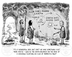 creation myth cartoon cavemen debate the nature of the universe