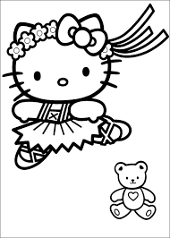 Hellokitty ballerina coloring page from the hello kitty coloring pages section of fun with pictures.com. Hello Kitty Ballerina And A Teddy Bear Coloring Page For Girls Printable
